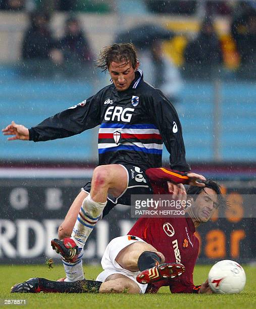Roma's defender Christian Panucci vies with Sampdoria Genoa's defnder Aimo Diana during their Serie A soccer match at the Olympic stadium in Rome...