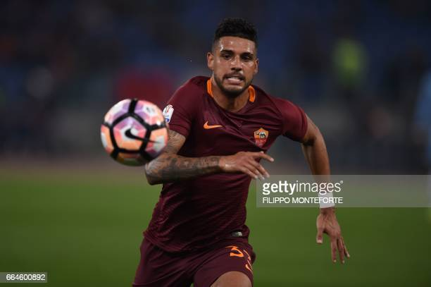 Roma's defender from Brazil Emerson Palmieri runs for the ball during the Italian Tim Cup second leg semifinal football match AS Roma vs Lazio on...