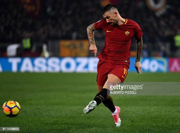 Roma's defender from Serbia Aleksandar Kolarov passes the ball during the Italian Serie A football match Roma vs Sampdoria on January 28 2018 at...