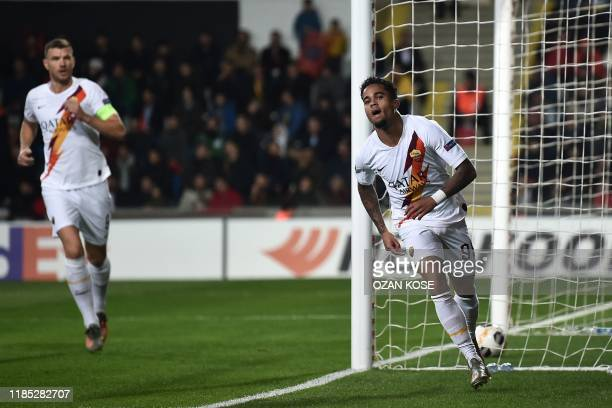 Roma's Dutch midfielder Justin Kluivert celebrates after scoring a goal during the UEFA Europa League Group J football match Istanbul Basaksehir FK...