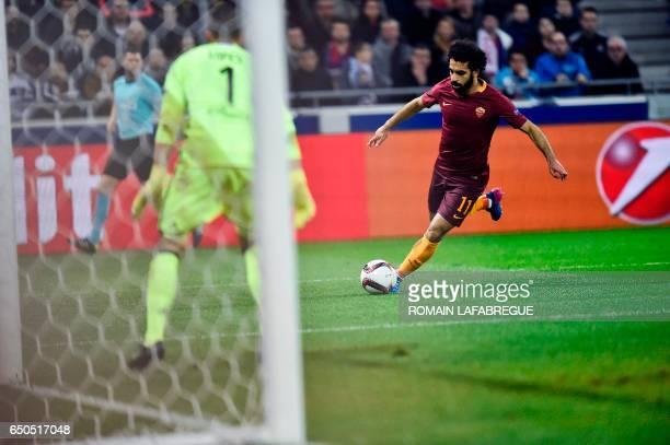Romas Egyptian midfielder Mohammed Salah runs towards the goal during the Europa League round of 16 first leg football match between Lyon and AS Roma...