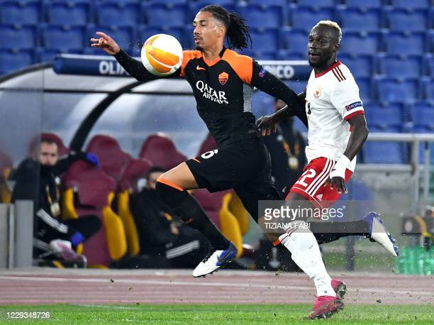 Roma's English defender Chris Smalling vies with CSKA Sofia's Gambian forward Ali Sowe during the UEFA Europa League Group A first-leg football match...