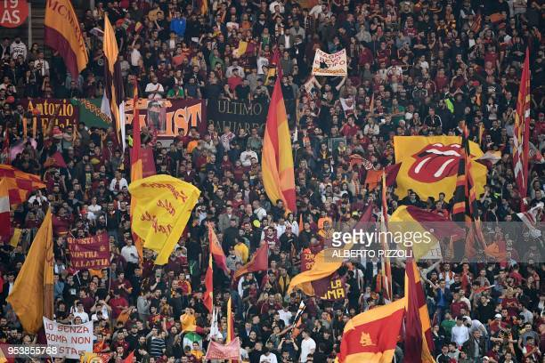 Roma's fans cheer their team before the UEFA Champions League semifinal second leg football match AS Roma vs Liverpool FC at the Stadio Olimpico in...