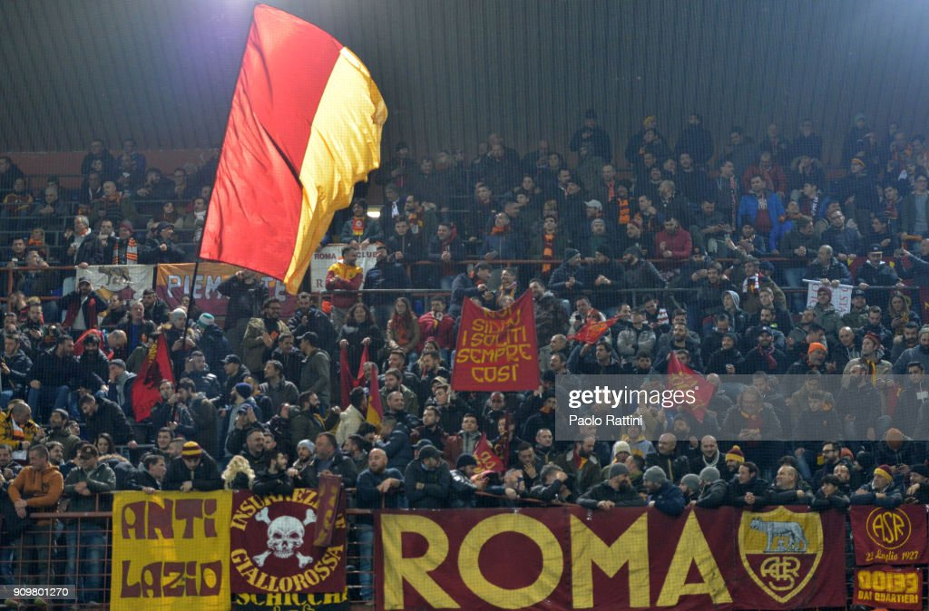Roma's Fans during the Serie A match between UC Sampdoria and AS Roma on January 24, 2018 in Genoa, Italy.