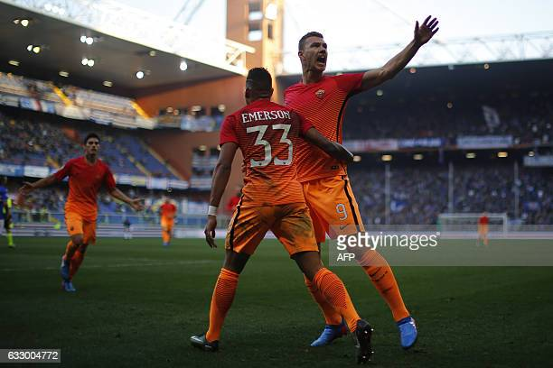 AS Roma's forward Edin Dzeko from BosniaHerzegovina celebrates after scoring with teammate AS Roma's defender Emerson Palmieri of Brazil during the...