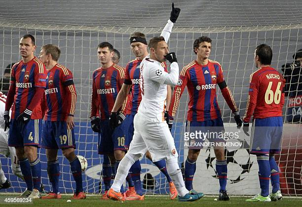 Roma's forward Francesco Totti celebrates a goal at the Khimki Arena outside Moscow on November 25 during their UEFA Champions League group E...