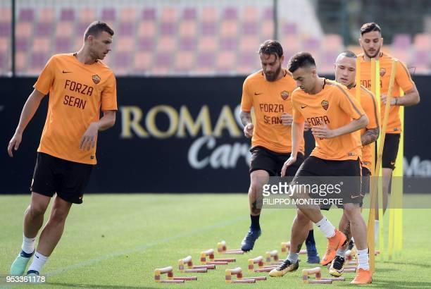 Roma's forward from Bosnia and Herzegovina Edin Dzeko midfielder Daniele De Rossi forward Stephan El Shaarawy Egyptian forward Stephan El Shaarawy...