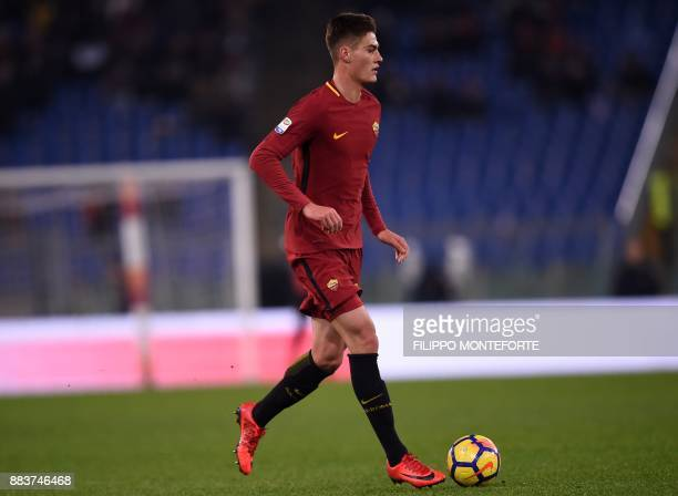 AS Roma's forward from Czech Republic Patrik Schick controls the ball during the Italian Serie A football match AS Roma vs Spal at the Olympic...