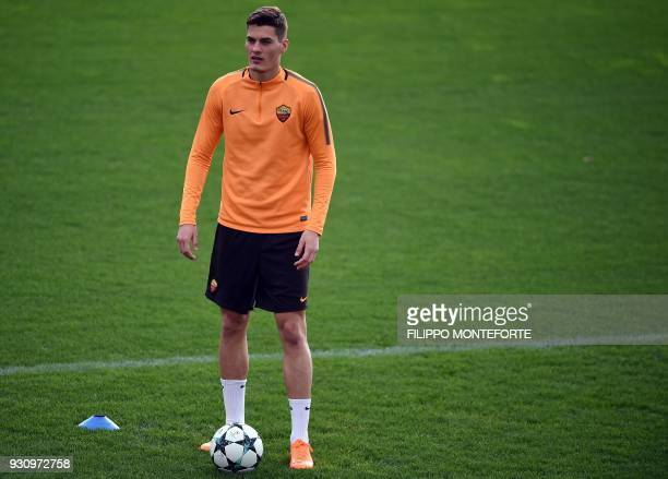 AS Roma's forward from Czech Republic Patrik Schick looks on during a training session a day before Champion's League round of 16 secondleg football...