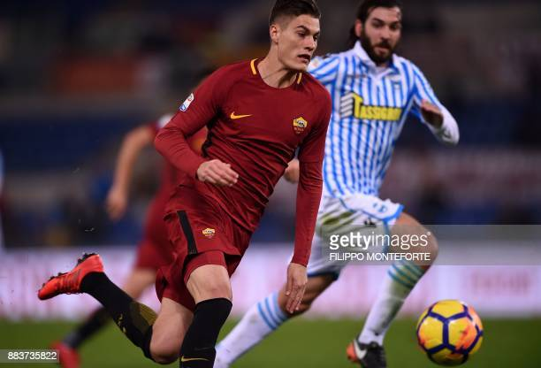 AS Roma's forward from Czech Republic Patrik Schick runs for the ball during the Italian Serie A football match AS Roma vs Spal at the Olympic...