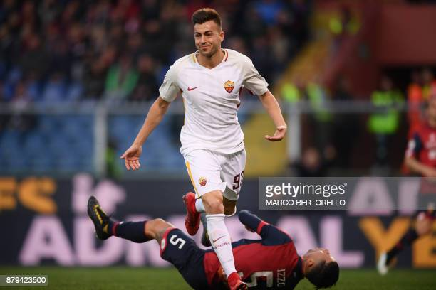 AS Roma's forward Stephan El Shaarawy celebrates after scoring during the Italian Serie A football match Genoa Vs AS Roma on November 26 2017 at the...