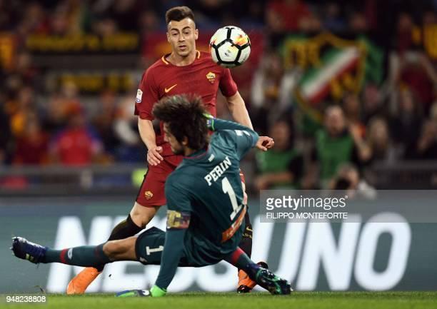 Roma's forward Stephan El Shaarawy confronts Genoa's goalkeeper Mattia Perin during the italian Serie A football match Rome vs Genoa at the Olympic...