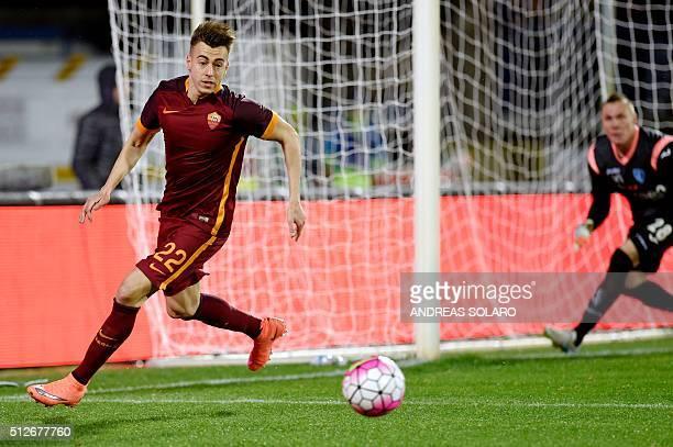 AS Roma's forward Stephan El Shaarawy controls the ball against Empoli during the Italian Serie A football match Empoli vs AS Rome on February 27...