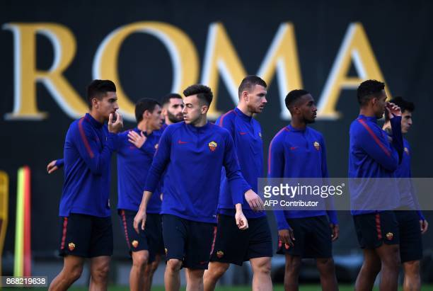Roma's forward Stephan El Shaarawy takes part in a training session with teammates on the eve of the UEFA Champions League football match AS Roma vs...