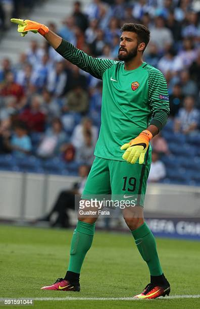 RomaÕs goalkeeper Alisson Becker from Brazil in action during the UEFA Champions League match between FC Porto and AS Roma at Estadio do Dragao on...