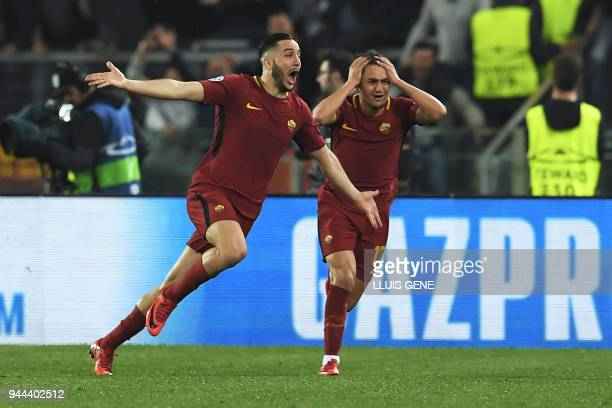 AS Roma's Greek defender Kostas Manolas celebrates after scoring a goal during the UEFA Champions League quarterfinal second leg football match...