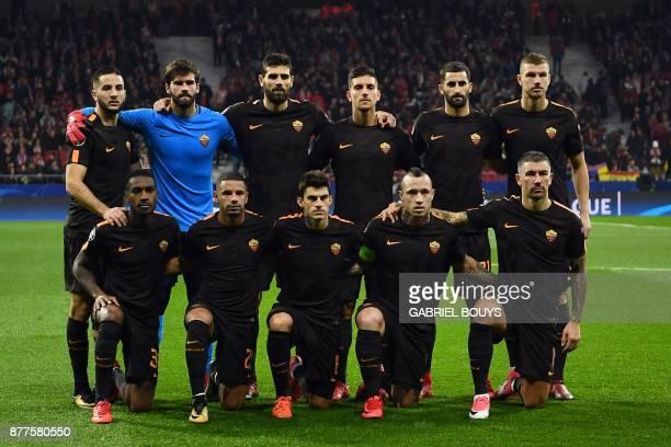 Roma's Greek defender Kostas Manolas Roma's Brazilian goalkeeper Alisson Roma's Argentinian defender Federico Fazio Roma's Italian midfielder Lorenzo...