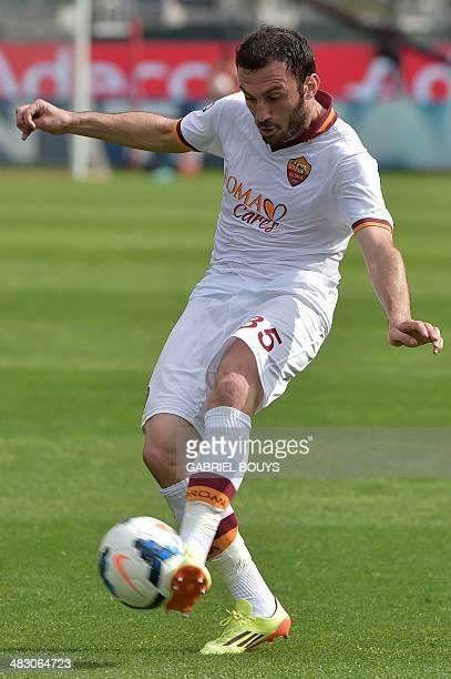 AS Roma's Greek defender Vasilis Torosidis controls the ball during the Italian Serie A football match between Cagliari vs AS Roma on April 6 2014 at...