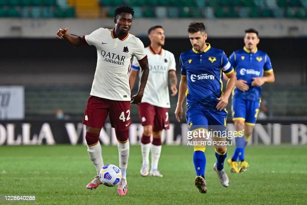 Roma's Guinean midfielder Amadou Diawara controls the ball during the Italian Serie A football match Hellas Verona vs As Roma on September 19, 2020...