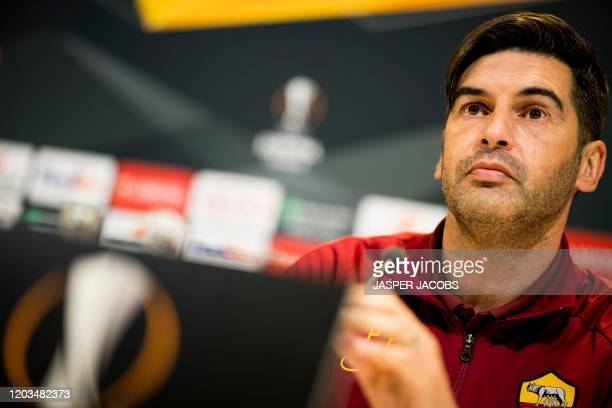 Roma's Head Coach Paulo Fonseca pictured during a press conference of AS Roma, ahead of the return match in the 1/16 finals of the UEFA Europa League...