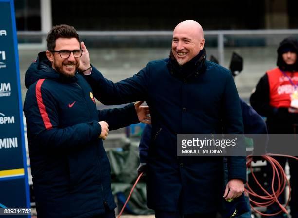 Roma's Italian coach Eusebio Di Francesco and Chievo's Italian coach Rolando Maran speaks prior to the Italian Serie A football match between AC...