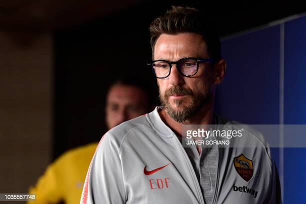Roma's Italian coach Eusebio Di Francesco arrives for a press conference at the Santiago Bernabeu stadium in Madrid on September 18 2018 on the eve...