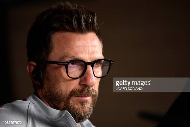 Roma's Italian coach Eusebio Di Francesco holds a press conference at the Santiago Bernabeu stadium in Madrid on September 18 2018 on the eve of the...