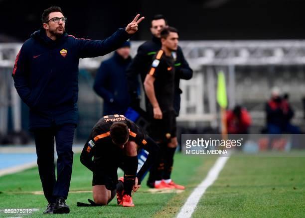 Roma's Italian coach Eusebio Di Francesco reacts during the Italian Serie A football match between AC Chievo and AS Roma at the Bentegodi stadium in...