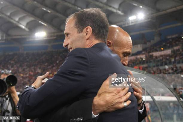 Roma's Italian coach Luciano Spalletti greets Juventus' coach fromy Italy Massimiliano Allegri during the Italian Serie A football match AS Roma vs...