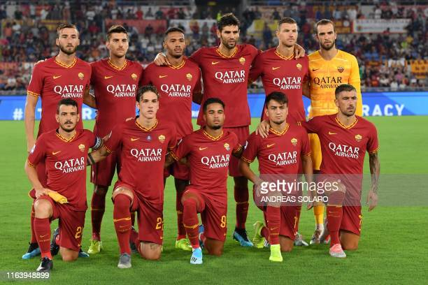 AS Roma's Italian defender Alessandro Florenzi AS Roma's Italian midfielder Nicolo Zaniolo AS Roma's Dutch forward Justin Kluivert AS Roma's Turkish...