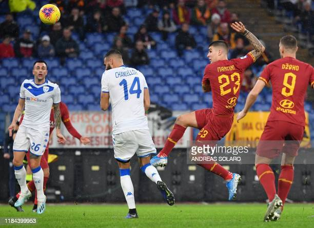 AS Roma's Italian defender Gianluca Mancini shoots to score his team's second goal during the Italian Serie A football match Roma vs Brescia on...