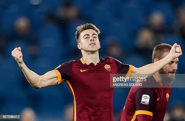 Roma's Italian forward Stephan El Shaarawy celebrates after scoring during the Italian Serie A football match between AS Roma and Frosinone at Rome's...