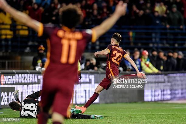 AS Roma's Italian forward Stephan El Shaarawy scores his second goal during the Italian Serie A football match Empoli vs AS Rome on February 27 2016...