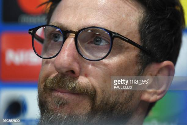 Roma's Italian head coach Eusebio Di Francesco attends a press conference at Anfield stadium in Liverpool north west England on April 23 2018 on the...