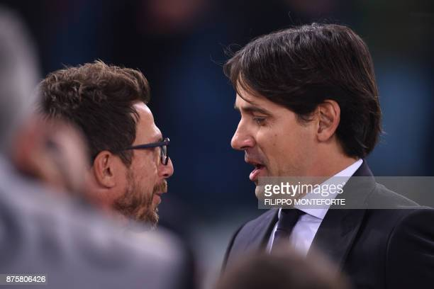 Roma's Italian head coach Eusebio Di Francesco chats with Lazio's coach Simone Inzaghi before the Italian Serie A football match AS Roma vs Lazio on...