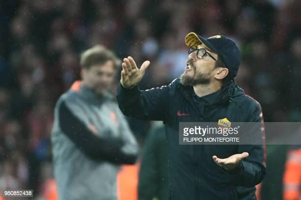 Roma's Italian head coach Eusebio Di Francesco gestures during the UEFA Champions League first leg semifinal football match between Liverpool and...