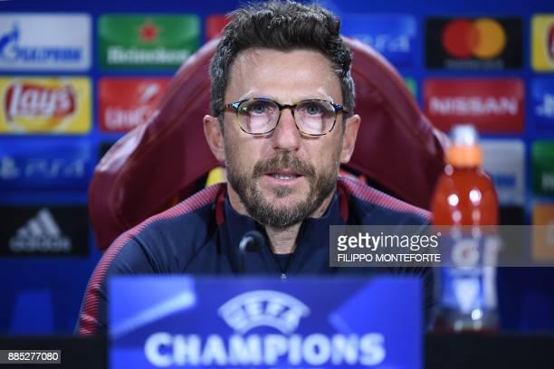Roma's Italian head coach Eusebio Di Francesco speaks during a press conference on the eve of the UEFA Champions League football match AS Roma vs...