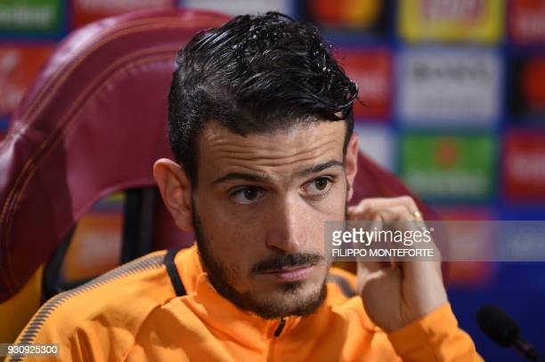 Roma's Italian midfielder Alessandro Florenzi attends a press conference on the eve of the UEFA Champions League football match AS Roma vs Shakhtar...