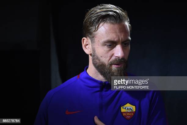 Roma's Italian midfielder Daniele De Rossi attends a press conference on the eve of the UEFA Champions League football match AS Roma vs Qarabag on...