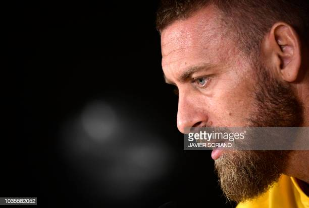 Roma's Italian midfielder Daniele De Rossi holds a press conference at the Santiago Bernabeu stadium in Madrid on September 18 2018 on the eve of the...
