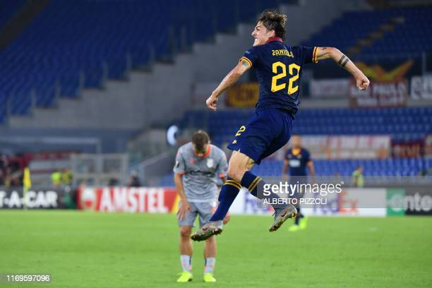 AS Roma's Italian midfielder Nicolo Zaniolo celebrates after scoring during the UEFA Europa League Group J football match AS Roma vs Istanbul...