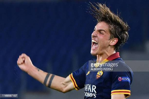 Roma's Italian midfielder Nicolo Zaniolo celebrates after scoring during the UEFA Europa League Group J football match AS Roma vs Istanbul Basaksehir...