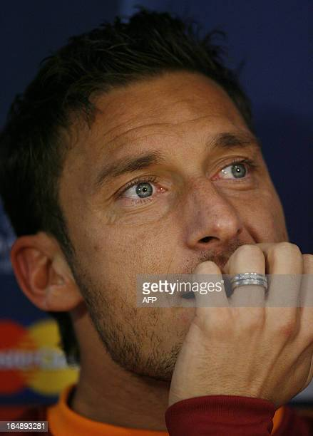 Roma's Italian Striker Francesco Totti attends a press conference before a training for their UEFA Champions League group stage first leg match...