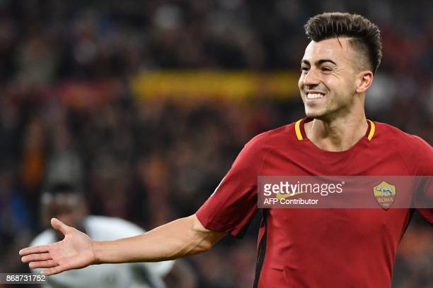 Roma's Italian striker Stephan El Shaarawy celebrates after scoring a second goal during the UEFA Champions League football match AS Roma vs Chelsea...