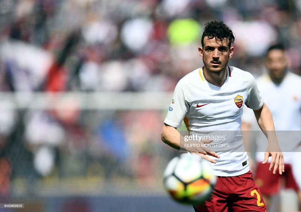 Roma's midfielder Alessandro Fiorenzi eyes the ball during the Italian Serie A football match Bologna vs AS Roma at the Renato D'all'Ara Stadium in Bologna, on March 31, 2018 /