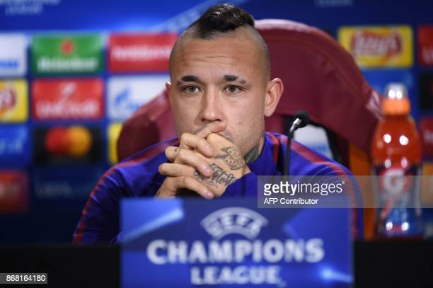 Roma's midfielder from Belgium Radja Nainggolan attends a press conference on the eve of the UEFA Champions League football match AS Roma vs Chelsea...
