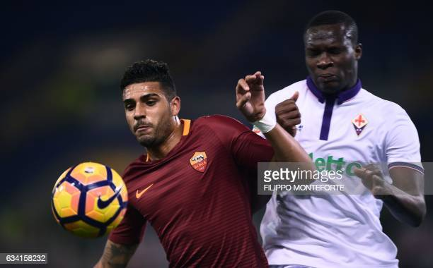 Roma's midfielder from Brasil Emerson vies ewith Fiorentina's forward from Senegal Khouma Babacar during the italian Serie A football match Roma vs...