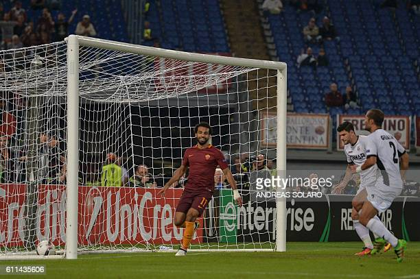Roma's midfielder from Egypt Mohamed Salah celebrates after scoring during the UEFA Europa League football match AS Roma vs Astra at Rome's Olympic...