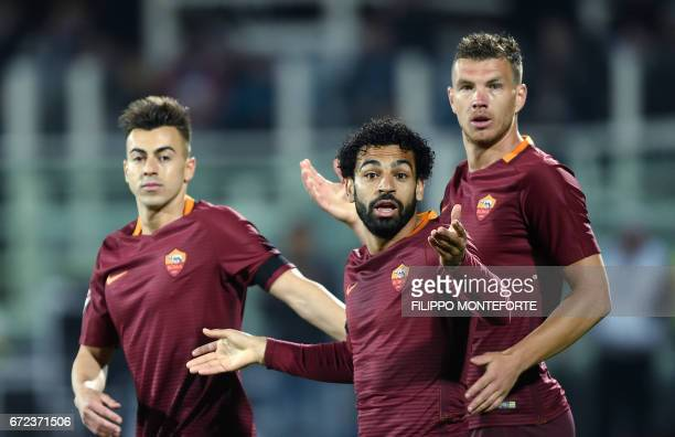 Roma's midfielder from Egypt Mohamed Salah reacts during the Italian Serie A football match Pascara vs Roma at the Adriatico Stadium in Pescara on...