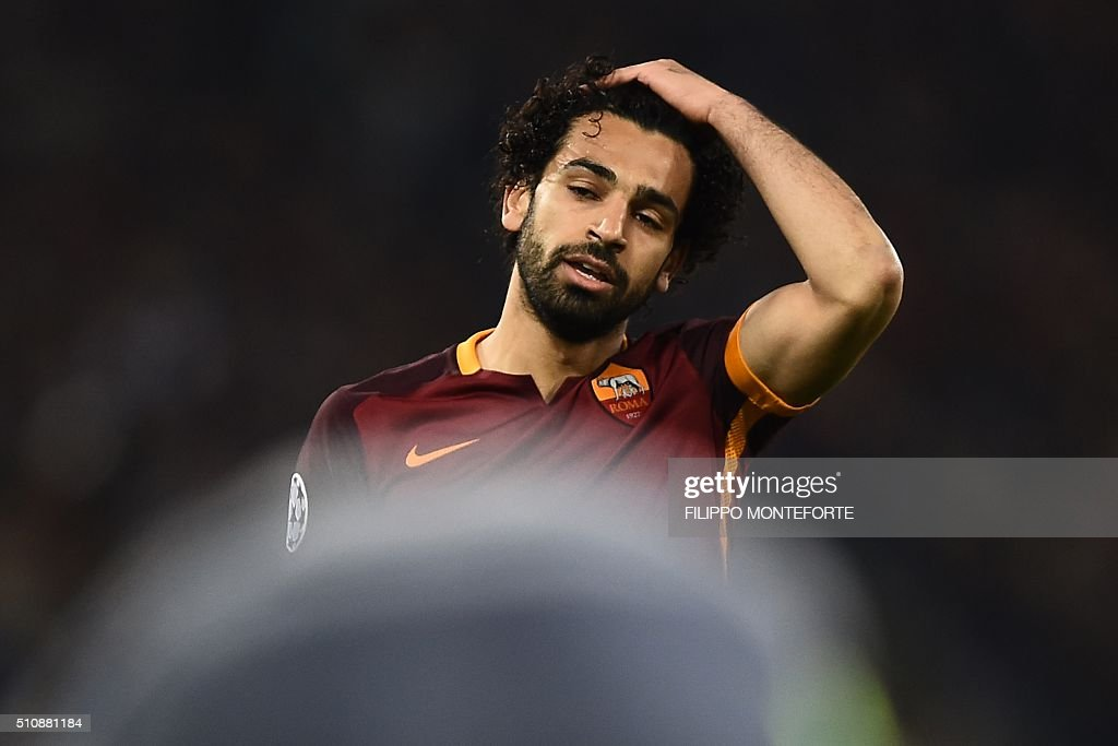 Roma's midfielder from Egypt Mohamed Salah reacts during the UEFA Champions League football match AS Roma vs Real Madrid on Frebruary 17, 2016 at the Olympic stadium in Rome. Real Madrid won 0- 2.